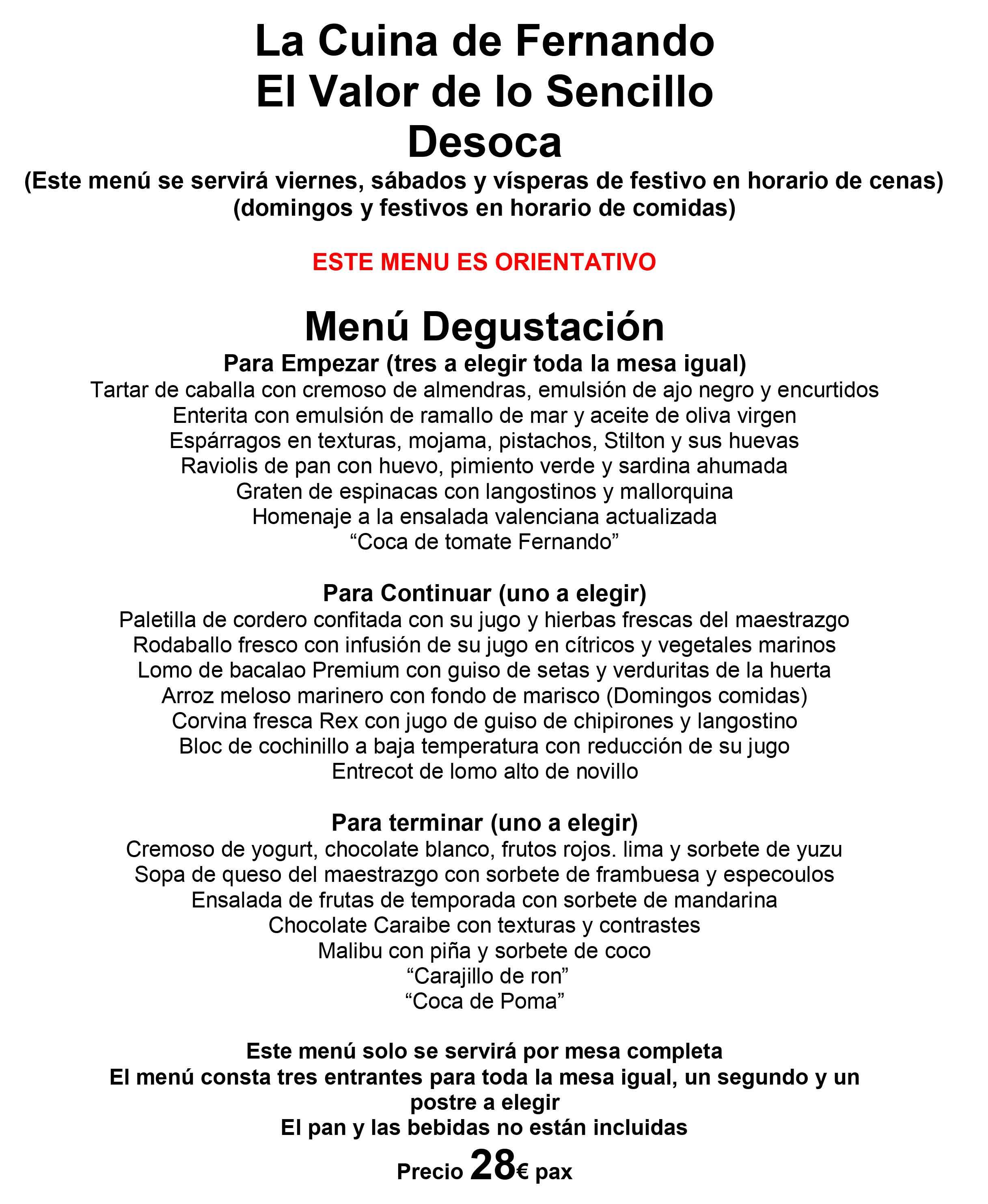 Menú Degustación - La Cuina de Fernando el valor de lo sencillo