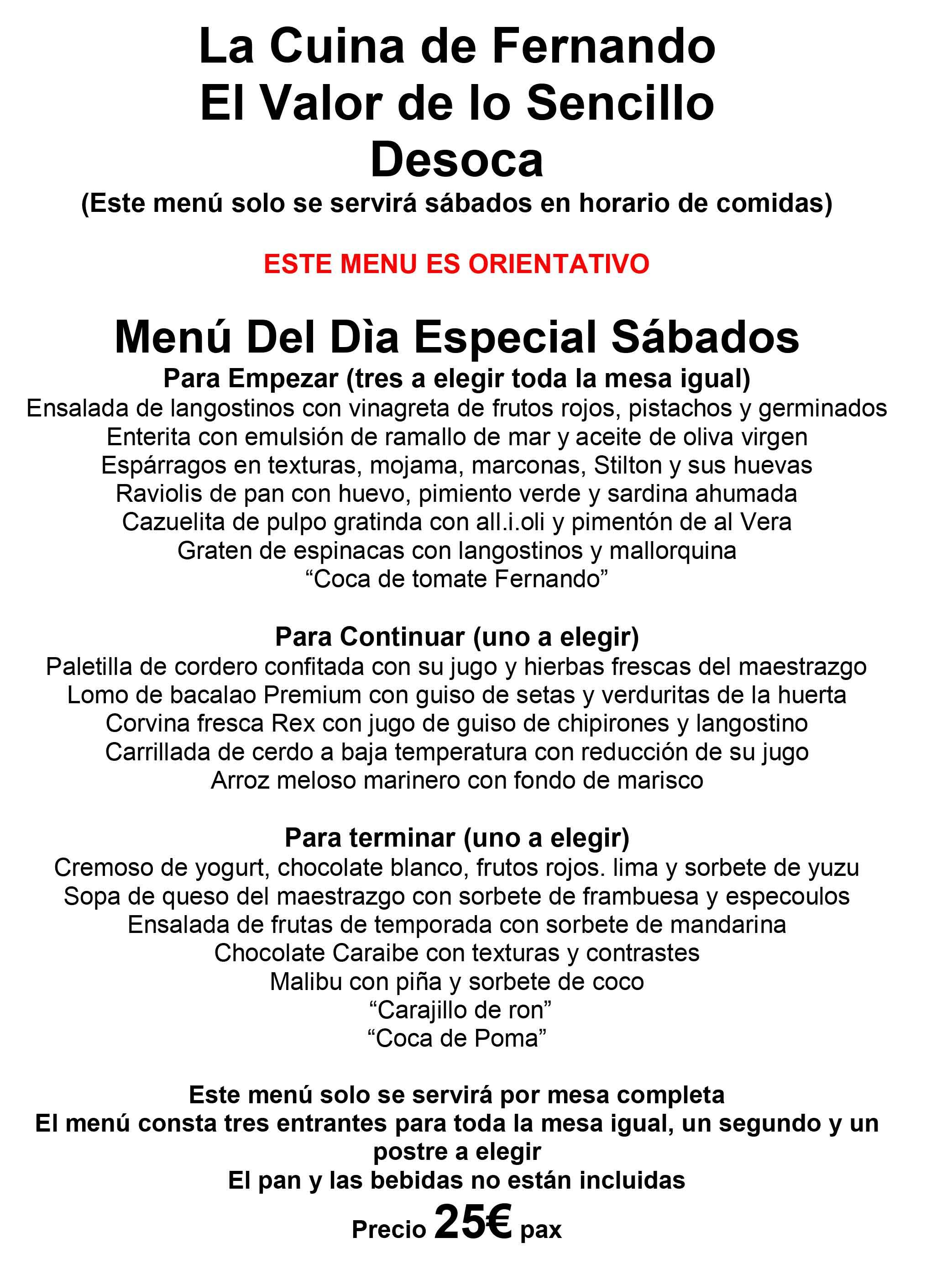 Menú Especial Sábados - La Cuina de Fernando #Desoca